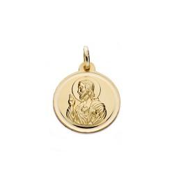 Medalla oro 18k escapulario 18mm. Virgen Carmen Corazón Jesús unisex