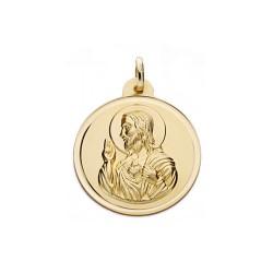 Medalla oro 18k escapulario 26mm. Virgen del Carmen Corazón de Jesús bisel