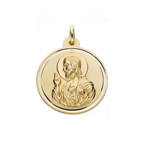 Medalla oro 18k escapulario 30mm. Virgen Carmen y Cristo [AA0570]