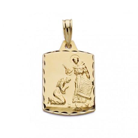 Medalla oro 18k bendición San Francisco 21mm. [AA0609]