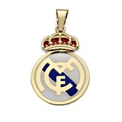 Colgante escudo Real Madrid oro de ley 18k esmalte 32mm. [AA0632]