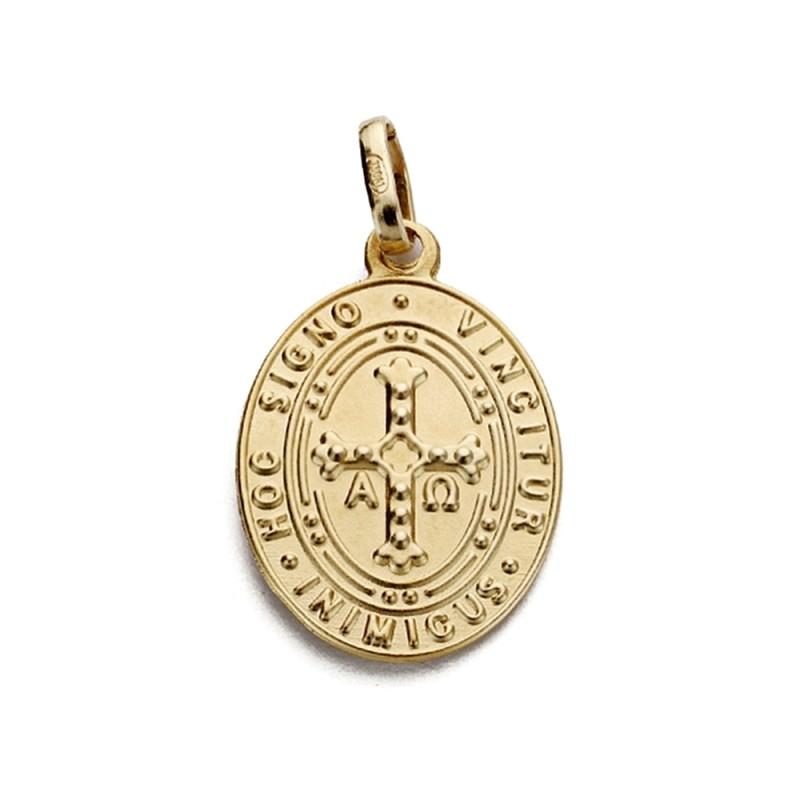 ae7b5f158 Medalla escapulario oro 18k Virgen Covadonga y Cruz Asturiana [AA1924].  Loading zoom