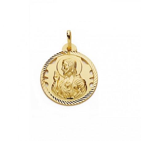aa3db2fbcb3 Medalla oro 18k escapulario 22mm Virgen Carmen Corazón Jesús  AA2476