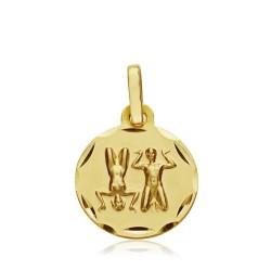Medalla oro 18k horóscopo Géminis 13mm. signo zodiaco [AA7401]