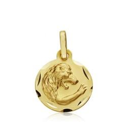 Medalla oro 18k horóscopo Leo 13mm. signo zodiaco [AA7402]