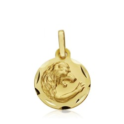 Medalla oro 18k horóscopo Leo 13mm. signo zodiaco [AA7402GR]