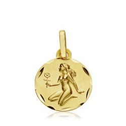 Medalla oro 18k horóscopo Virgo 13mm. signo zodiaco [AA7406]