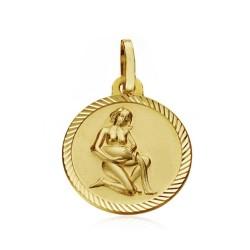 Medalla oro 18k horóscopo Acuario 16mm. signo zodiaco [AA7407]