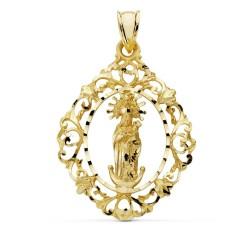 Colgante oro 18k Virgen Almudena cerco 37mm. [AB0759]