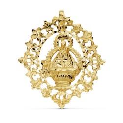 Colgante oro 18k Virgen Cabeza cerco 36mm. [AB0763]