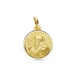 Medalla oro 18k San Benito 16mm. dos caras [AB2478]