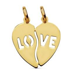 Colgante oro 18k corazón partido love 15mm. [AB2857]