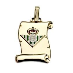 Colgante pergamino escudo Real Betis oro de ley 9k  21mm. [8711]