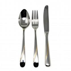 Set 3 cubiertos acero inoxidable 18/10 Dalia bicolor detalles dorados cuchara cuchillo tenedor