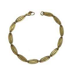 Pulsera oro 18k cadena 19cm. eslabones ovalados mujer cierre mosquetón