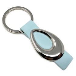 Llavero metálico enganche piel azul forma oval [3588]