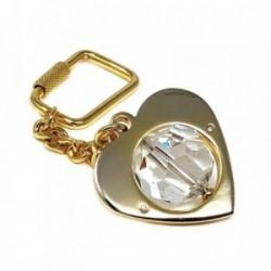 Llavero metal dorado 38mm. corazón bola cristal [AB5554]