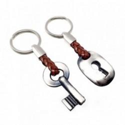 Dos llaveros metal llave cerradura cuero [AB5570]