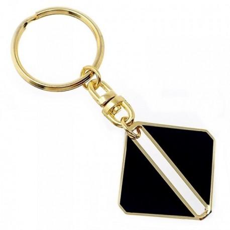 Llavero metal chapado oro 38mm. otra cara esmaltada negro [AB5600]