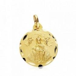 Medalla oro 18k Virgen de África 18mm. filo tallado [AB3439GR]