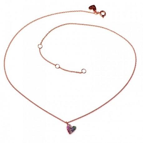 Colgante plata Ley 925m Agatha Ruiz de la Prada colección Rainbow 39cm. rosado corazón [AB5675]