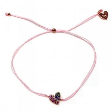 Pulsera plata Agatha Ruiz de la Prada cordón hilo rosa 23cm. [AB5679]