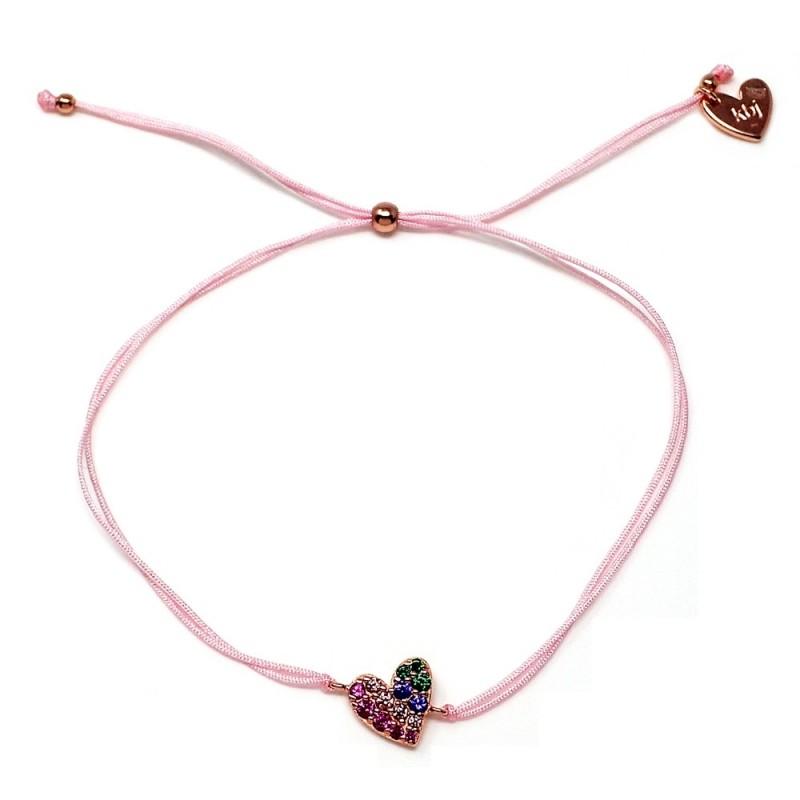 e3b291fe153e Pulsera plata Agatha Ruiz de la Prada cordón hilo rosa 23cm. [AB5679]