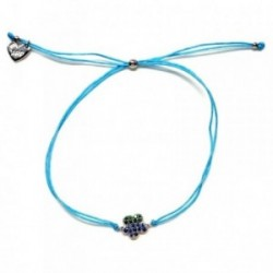 Pulsera plata Agatha Ruiz de la Prada cordón hilo azul 23cm. [AB5680]