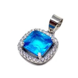 Colgante plata Ley 925m piedra azul 11mm. orla circonitas [AB5886]
