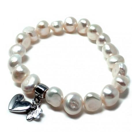 Pulsera plata Agatha Ruiz de la Prada 18cm. perlas 9mm. [AB5652]