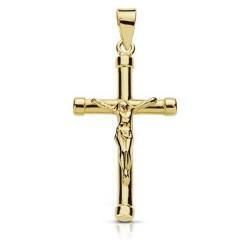 Crucifijo oro 18k Cristo cruz palo redondo terminaciones chatones unisex