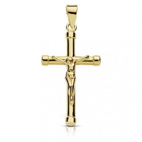 Crucifijo oro 18k Cristo bicolor palo redondo chatones [7941]