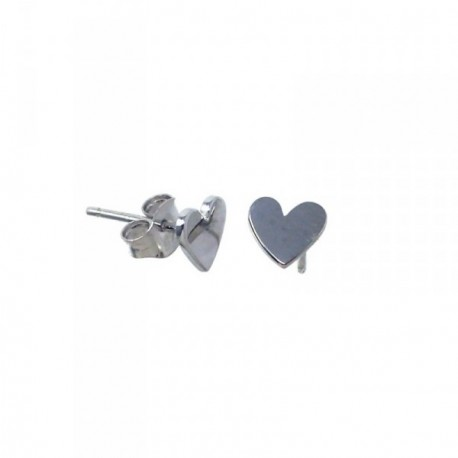 Pendientes plata Ley 925m Agatha Ruiz de la Prada 7mm. colección Superagatha corazón liso presión