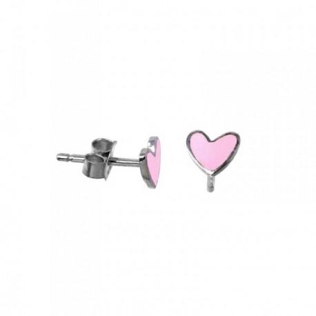 Pendientes plata Agatha Ruiz de la Prada 6mm. corazón rosa [AB5699]