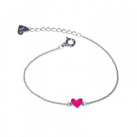 Pulsera plata Agatha Ruiz de la Prada 14cm. corazón rosa [AB5708]