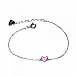 Pulsera plata Agatha Ruiz de la Prada 14cm. corazón rosa [AB5709]
