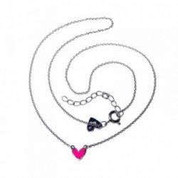 Colgante plata Agatha Ruiz de la Prada 40cm. corazón rosa [AB5833]