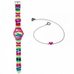 Juego Agatha Ruiz de la Prada reloj AGR205 pulsera plata [AB6008]
