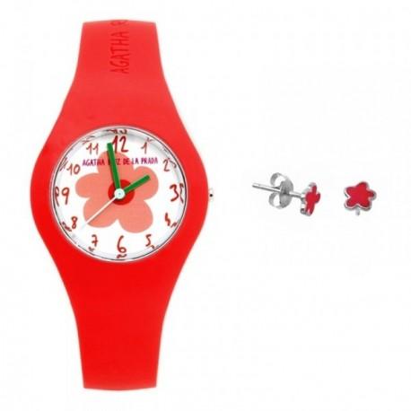 Juego Agatha Ruiz de la Prada niña reloj AGR220 rojo flor pendientes plata Ley 925m flor esmaltada