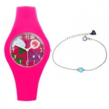 Juego Agatha Ruiz de la Prada reloj AGR221 pulsera plata niña [AB6024]