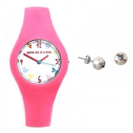 Juego Agatha Ruiz de la Prada reloj AGR223 pendientes plata [AB6026]