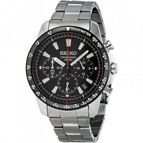 Reloj Seiko hombre SSB031P1 acero inoxidable plateado esfera negra cronómetro