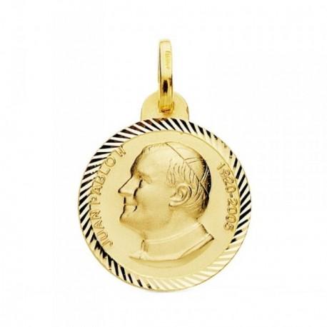 Medalla oro 18k  Juan Pablo II 20mm. filo tallado [AB3827GR]