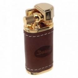 Mechero metálico recargable gas electrónico 5cm. dorado piel [AB5844]