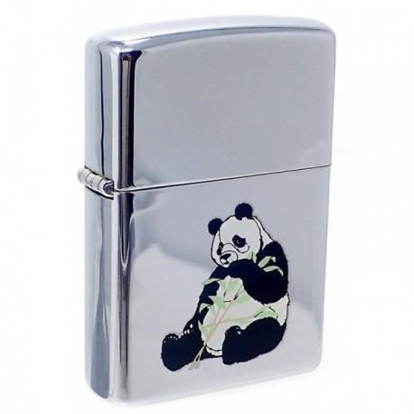 Mechero metálico recargable gasolina piedra 5.7cm. panda [AB5854]