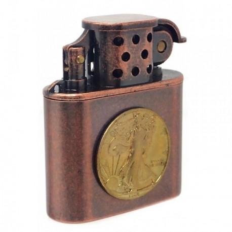 Mechero metálico recargable gasolina piedra 5cm. moneda [AB5862]