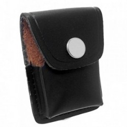 Funda mechero piel negra 7cm. interior marrón [AB5875]