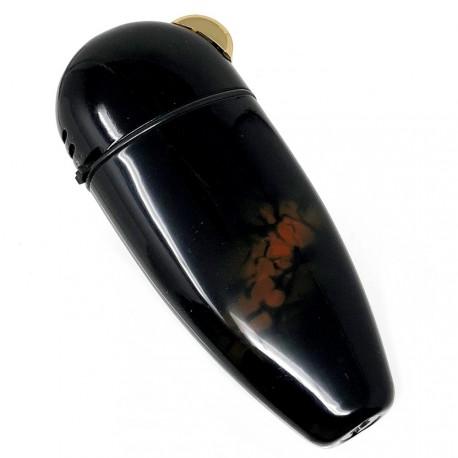 Mechero metálico recargable gas electrónico 7cm. negro [AB5849]
