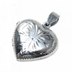 Colgante guardapelo plata Ley 925m corazón 20mm. tallado [AB6035]