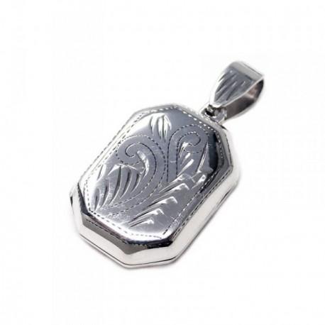 Colgante guardapelo plata Ley 925m octogonal 20mm. tallado [AB6036]